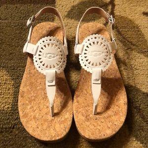 UGG white Ayden ll leather sandal 6.5 new!